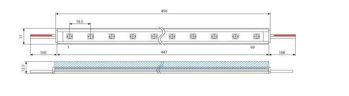 LEDバーライトの製品寸法(SKS-450-24PW)