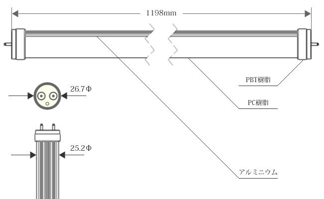 直管型LED照明寸法図
